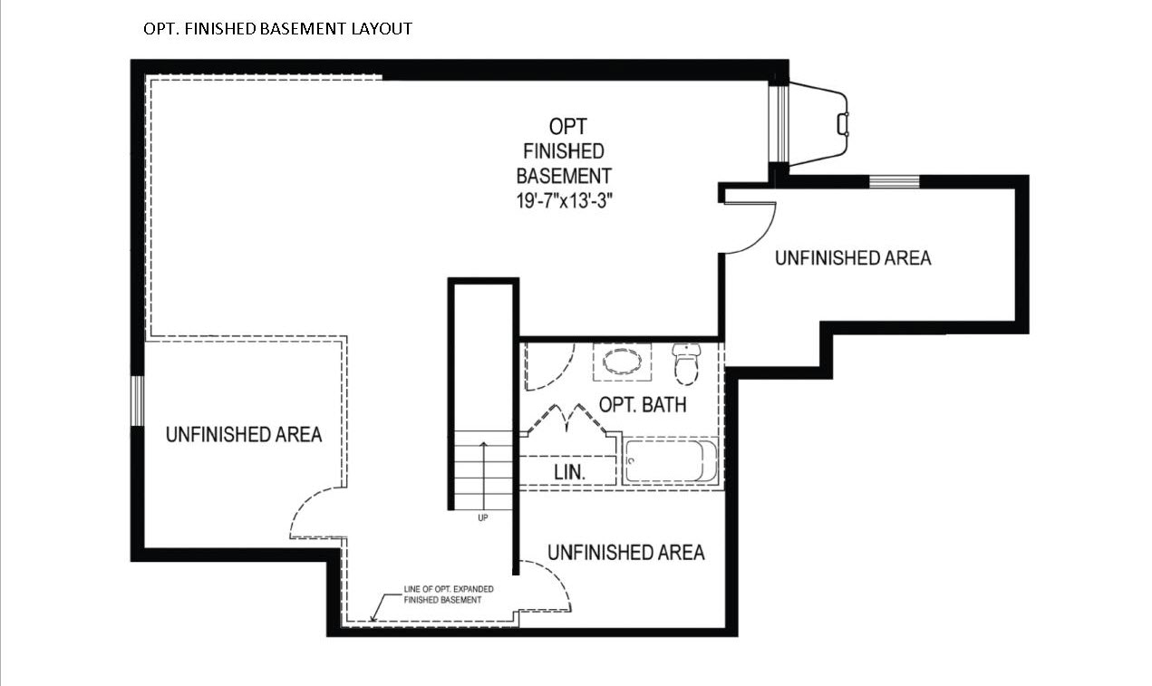 The Alexander basement plan for new homes near West Chester PA
