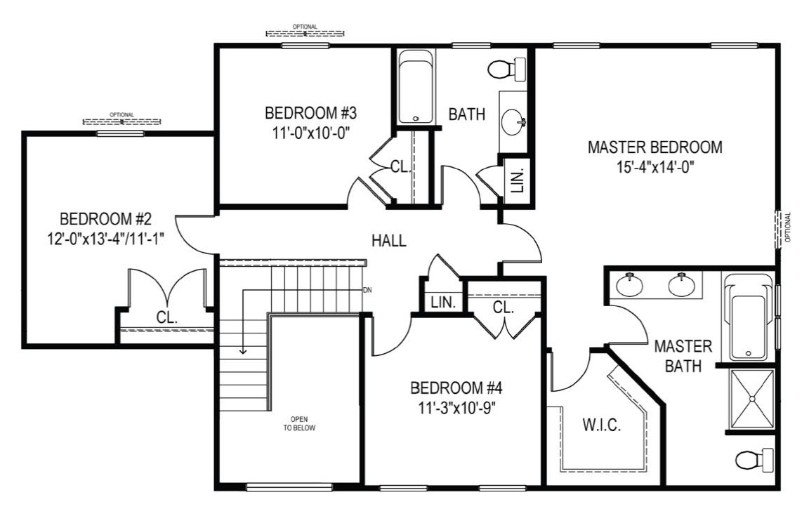 The Baldwin 2nd floor plan for new homes Dover DE