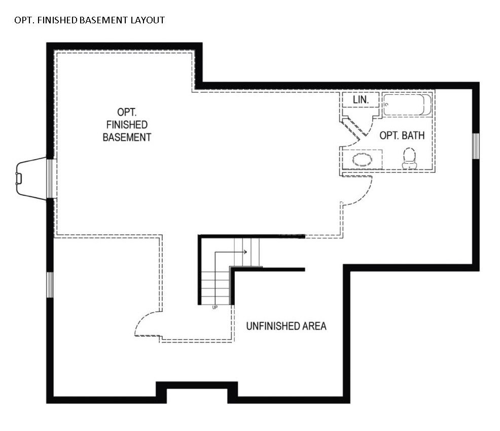Basement plan for new homes for sale in Chester County PA by Chetty Builders
